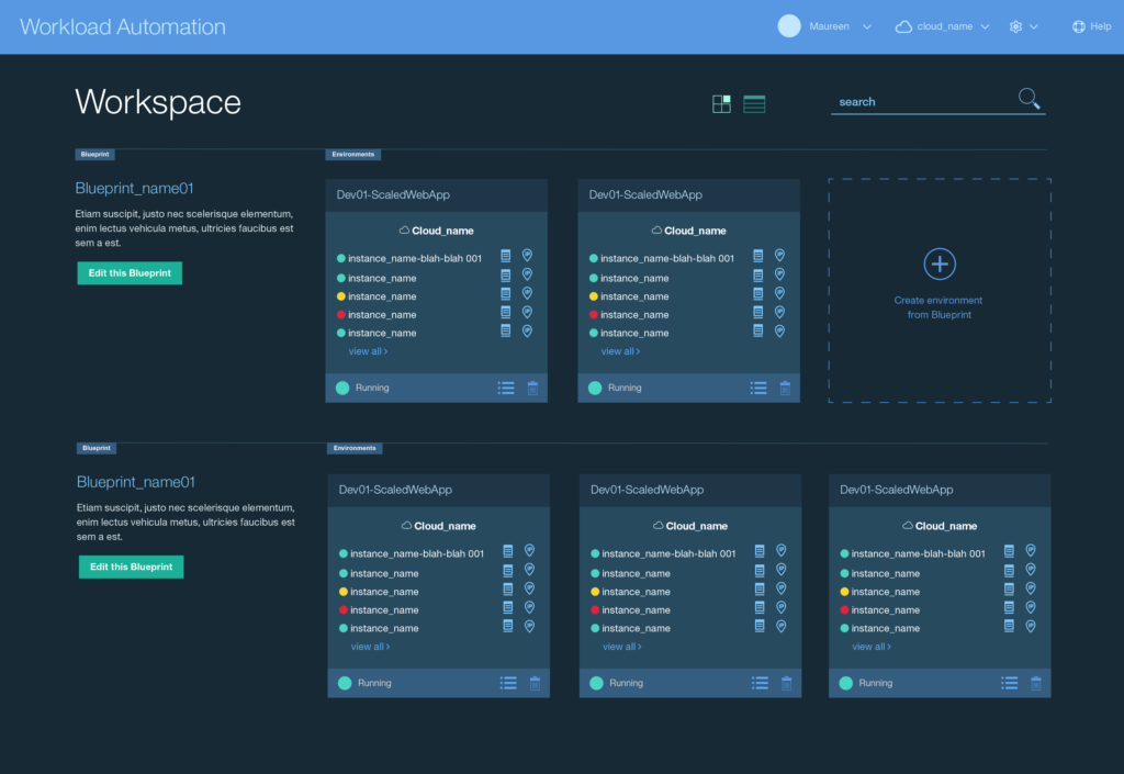 Workload Automation Visual Design: Grid